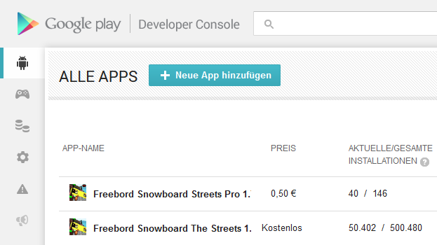 Our most popular game Freebord The Game was installed over half a million times on Android