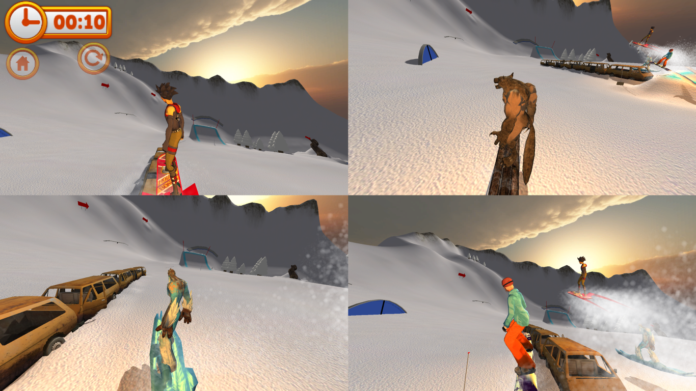 Mad Snowboarding Split Screen Mode, 4 players
